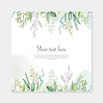 Watercolor leaves background multi-purpose frame