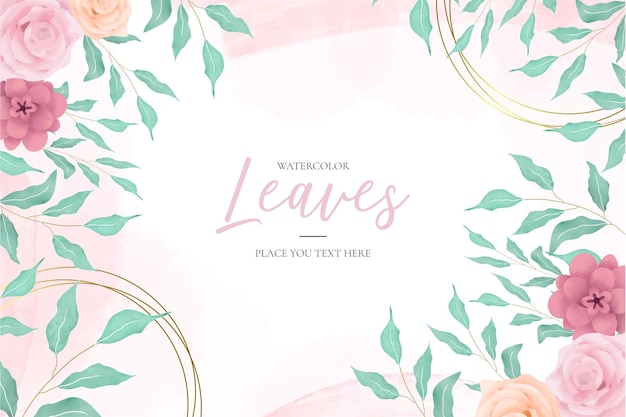 Watercolor leaves background with golden shapes