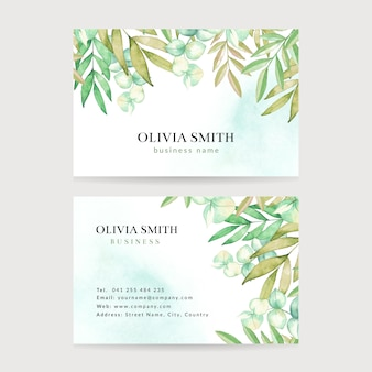 Watercolor leaves business card. leaves frame business card