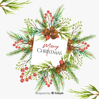 Watercolor leaves christmas background