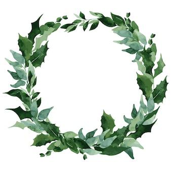 水彩画の葉のクリスマスリース