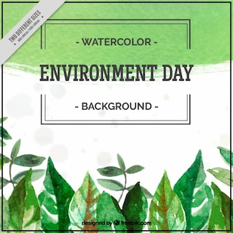 Watercolor leaves environment day background