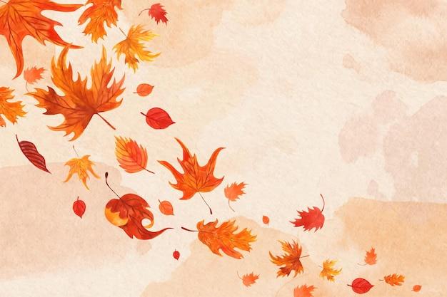Акварельные листья падают фон