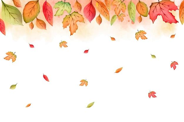 Watercolor leaves falling