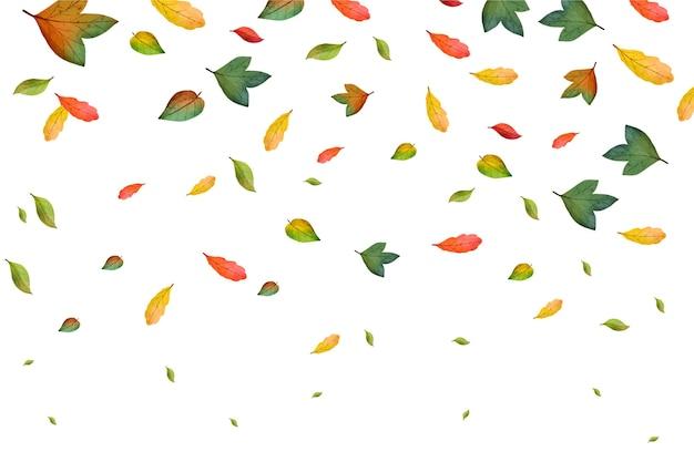 水彩の葉が落ちる