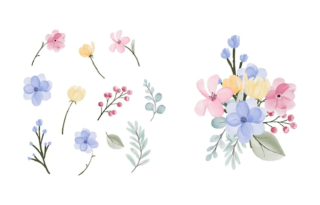 Watercolor leaves and flowers collection design