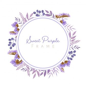 Watercolor leaves and flowers frame in purple theme for wedding card, and others.