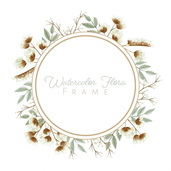 Watercolor leaves and flowers frame in white theme for wedding card, and others.