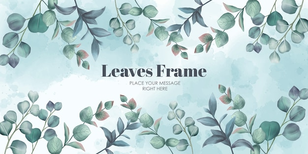 Watercolor leaves frame abstract background