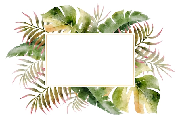 Watercolor leaves frame background  style