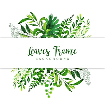 Watercolor Leaves Frame Background
