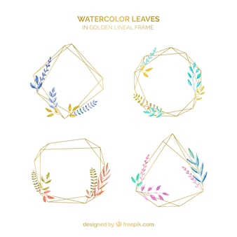 Watercolor leaves frame collection