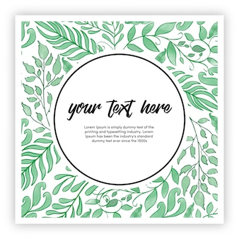 Watercolor leaves frame with green color multi-purpose background