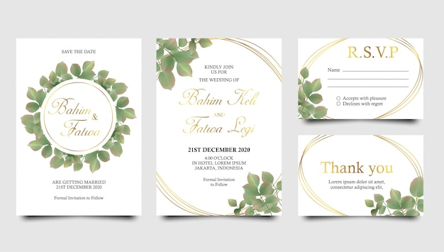 Watercolor leaves and gold frame wedding invitation templates