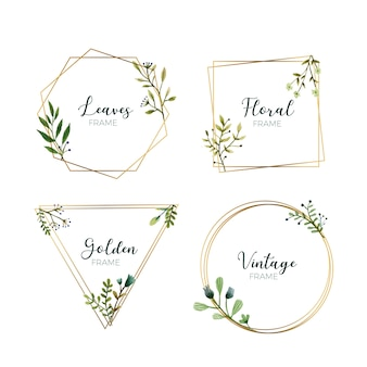 Watercolor leaves in gold frames
