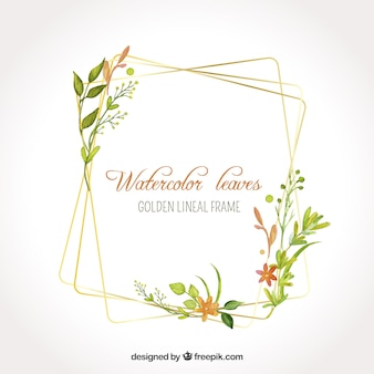 Watercolor leaves in golden lineal frame