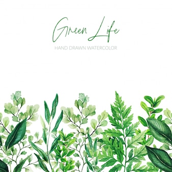 Watercolor leaves, greenery footer, green seamless border