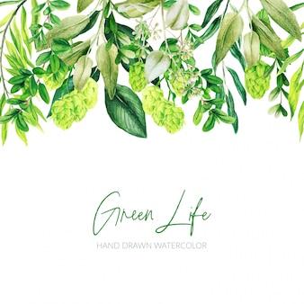 水彩の葉、緑のヘッダー、シームレスな境界線、手描き