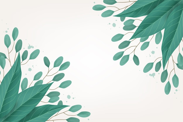 Watercolor leaves on a light background
