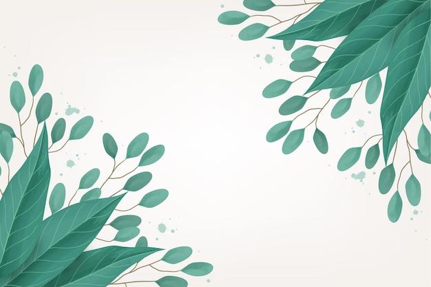 明るい背景に水彩の葉