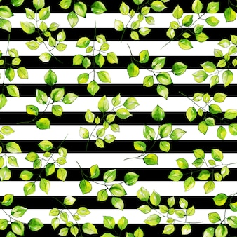 Watercolor leaves pattern background with stripes