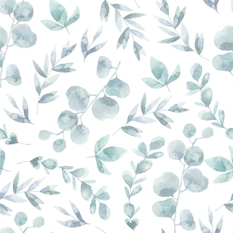 Watercolor leaves pattern background