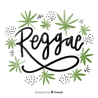 Watercolor leaves reggae background