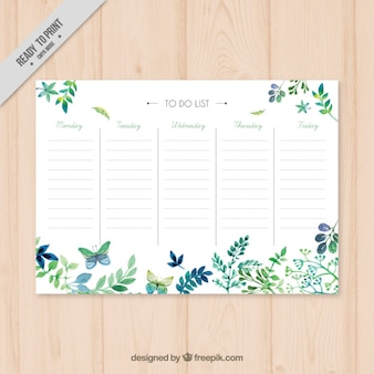Watercolor leaves schedule