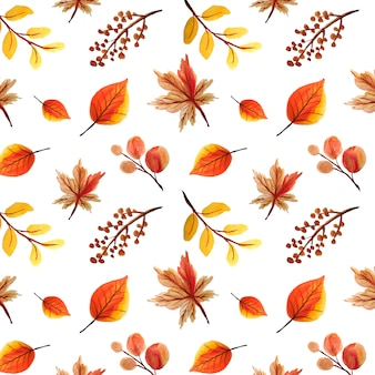 Watercolor leaves seamless pattern, autumn background