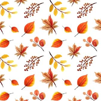 水彩葉のシームレスなパターン、秋の背景