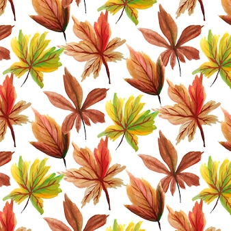 Watercolor leaves seamless pattern background