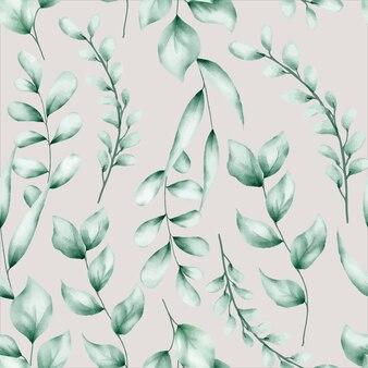 水彩画の葉のシームレスなパターンデザイン