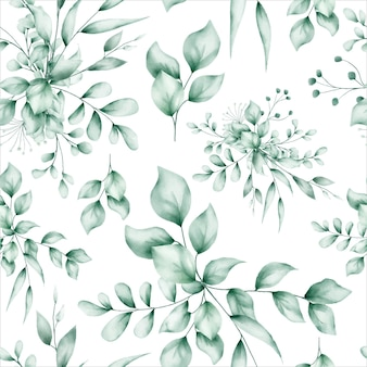 Watercolor leaves seamless pattern design