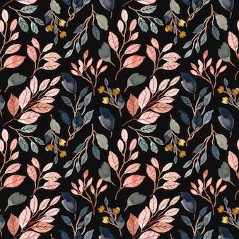 Watercolor leaves semaless pattern