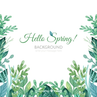 Watercolor leaves spring background