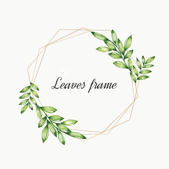 Watercolor leaves vintage frame with gold border