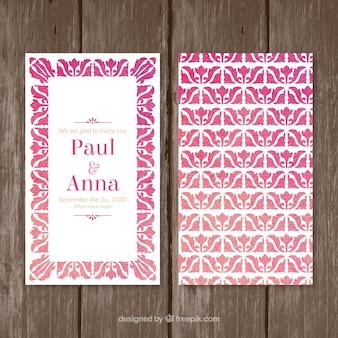 수채화는 웨딩 카드 핑크 색상으로 나뭇잎