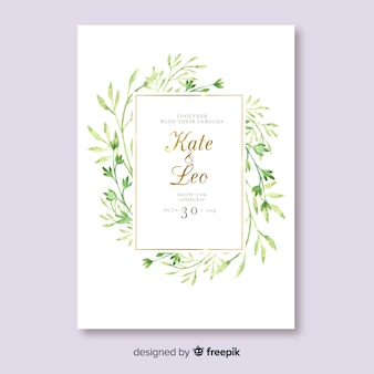 Watercolor leaves wedding invitation template