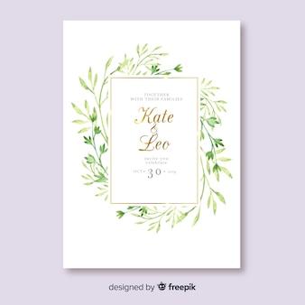 Watercolor leaves wedding invitation template