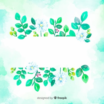 Watercolor leaves with blank space background