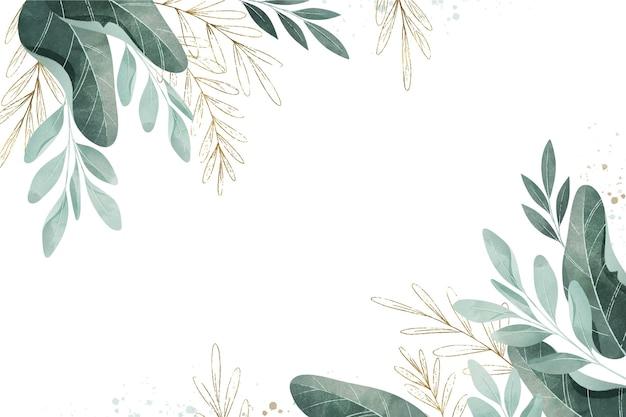 空のスペースで水彩画の葉