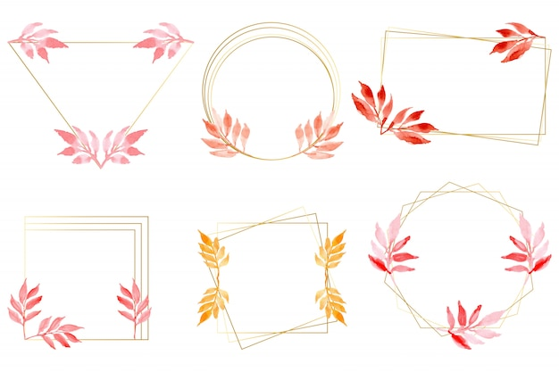 Watercolor leaves with gold frame collection