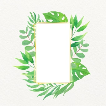 골든 프레임 수채화 잎