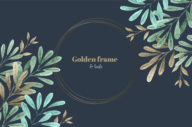 Watercolor leaves with golden frame