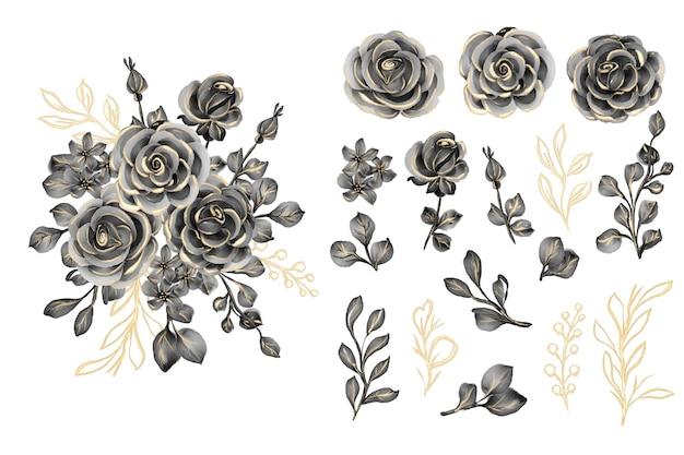 ローズブラックゴールドの孤立したクリップアートと水彩画の葉