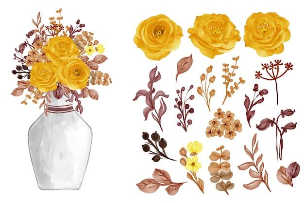 分離されたバラ黄色の秋の秋と水彩画の葉