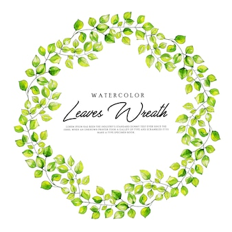 Watercolor leaves wreath background
