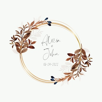Watercolor leaves wreath with golden circle