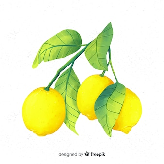 Watercolor lemon background