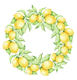 Watercolor lemon wreath